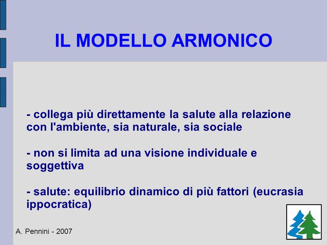 IL MODELLO ARMONICO - collega più direttamente la salute alla relazione con l ambiente, sia naturale, sia sociale.