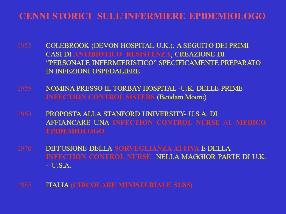 CENNI STORICI SULL'INFERMIERE EPIDEMIOLOGO