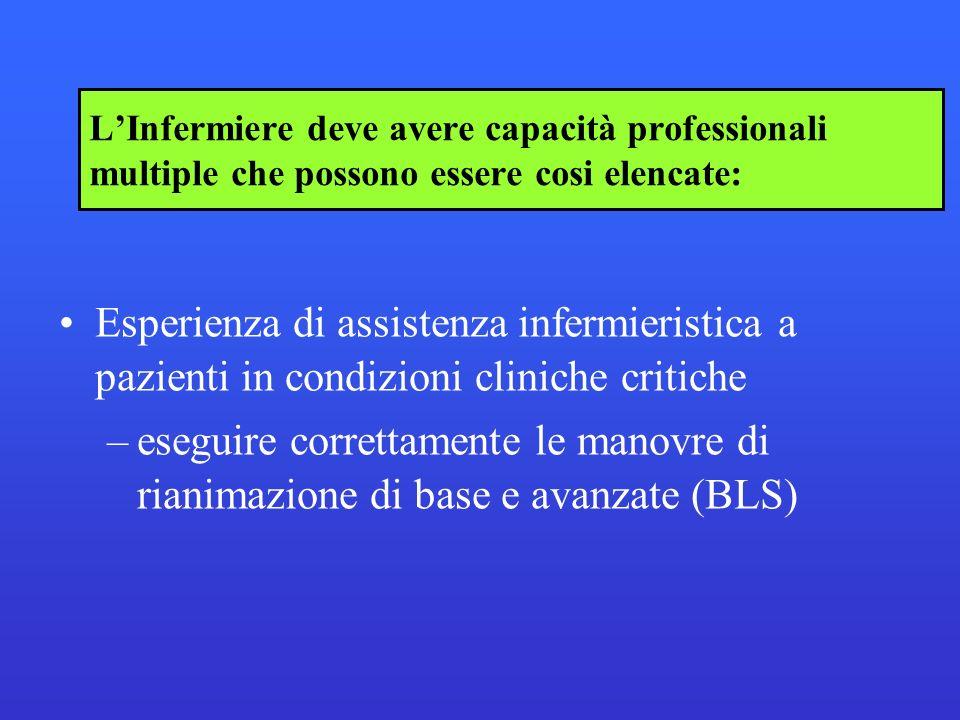 L'Infermiere deve avere capacità professionali multiple che possono essere cosi elencate: