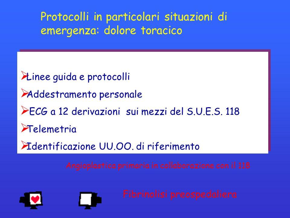 Protocolli in particolari situazioni di emergenza: dolore toracico
