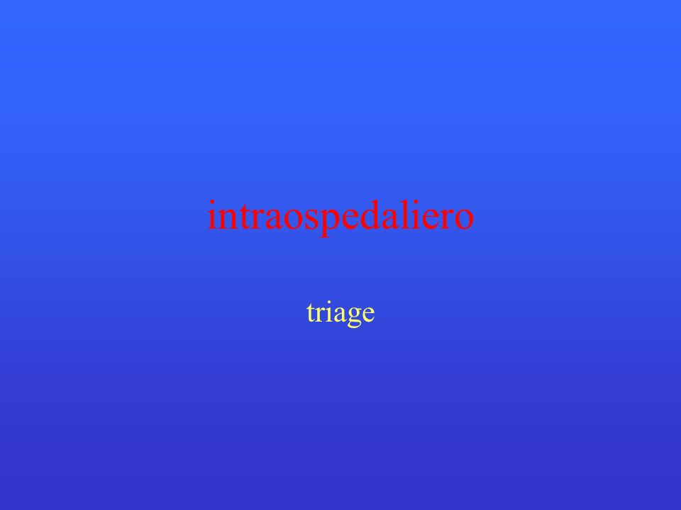 intraospedaliero triage