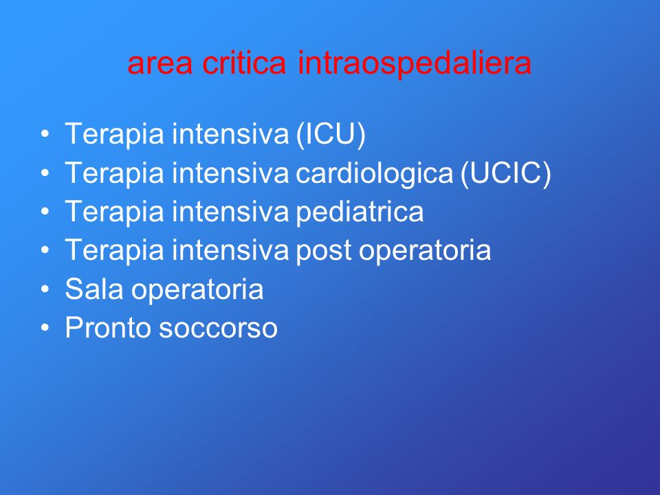 area critica intraospedaliera