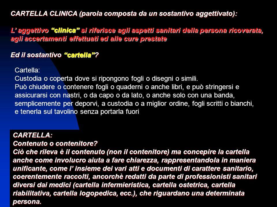 CARTELLA CLINICA (parola composta da un sostantivo aggettivato):