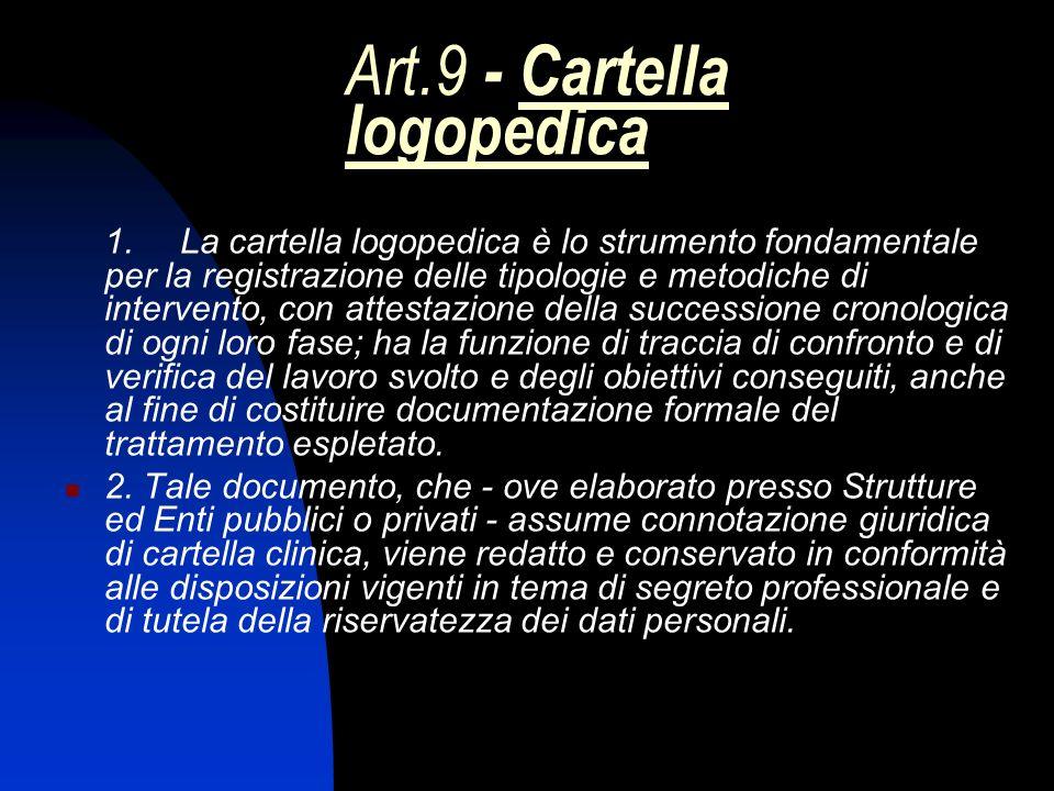 Art.9 - Cartella logopedica