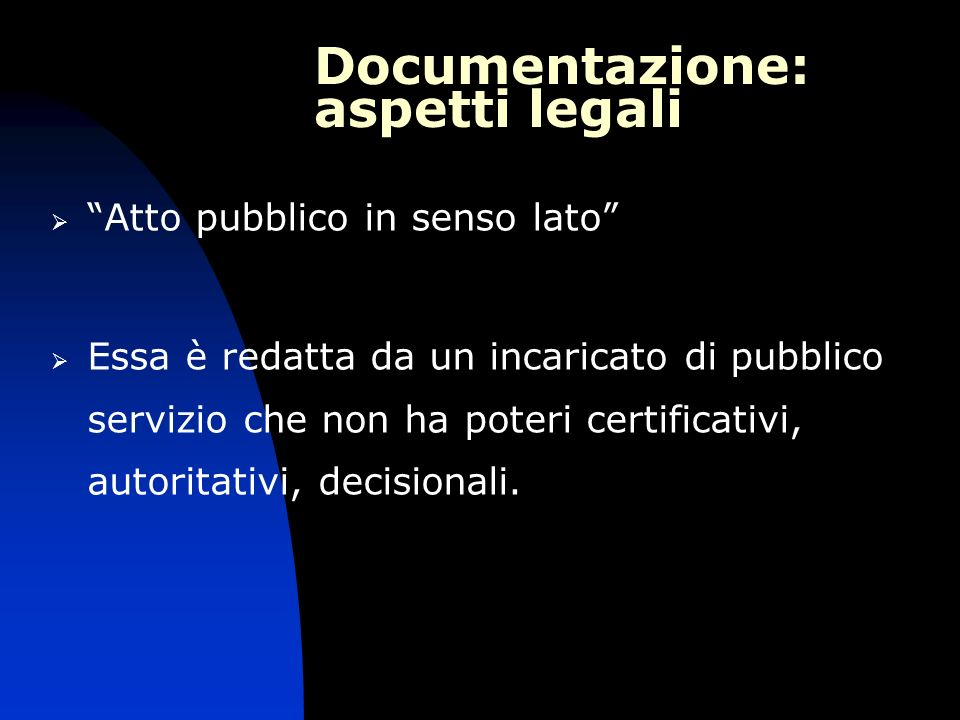 Documentazione: aspetti legali