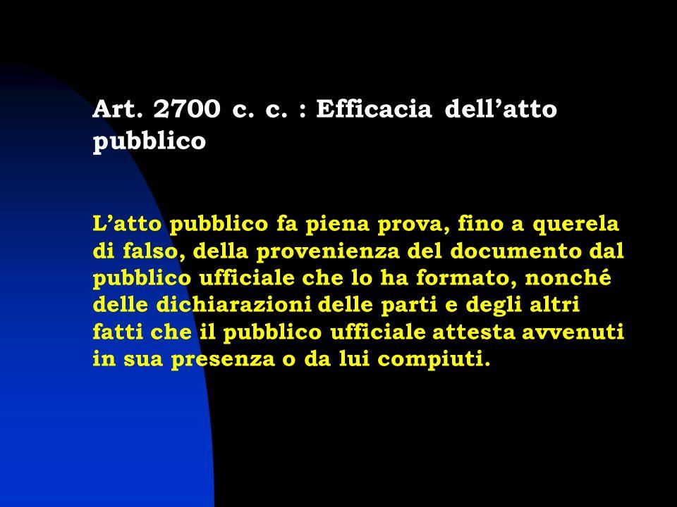 Art. 2700 c. c. : Efficacia dell'atto pubblico