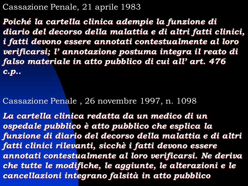Cassazione Penale, 21 aprile 1983