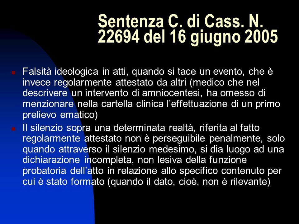 Sentenza C. di Cass. N. 22694 del 16 giugno 2005