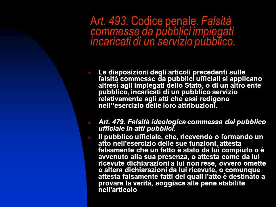 Art. 493. Codice penale. Falsità commesse da pubblici impiegati incaricati di un servizio pubblico.