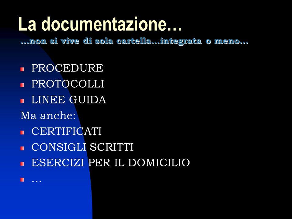 La documentazione… PROCEDURE PROTOCOLLI LINEE GUIDA Ma anche: