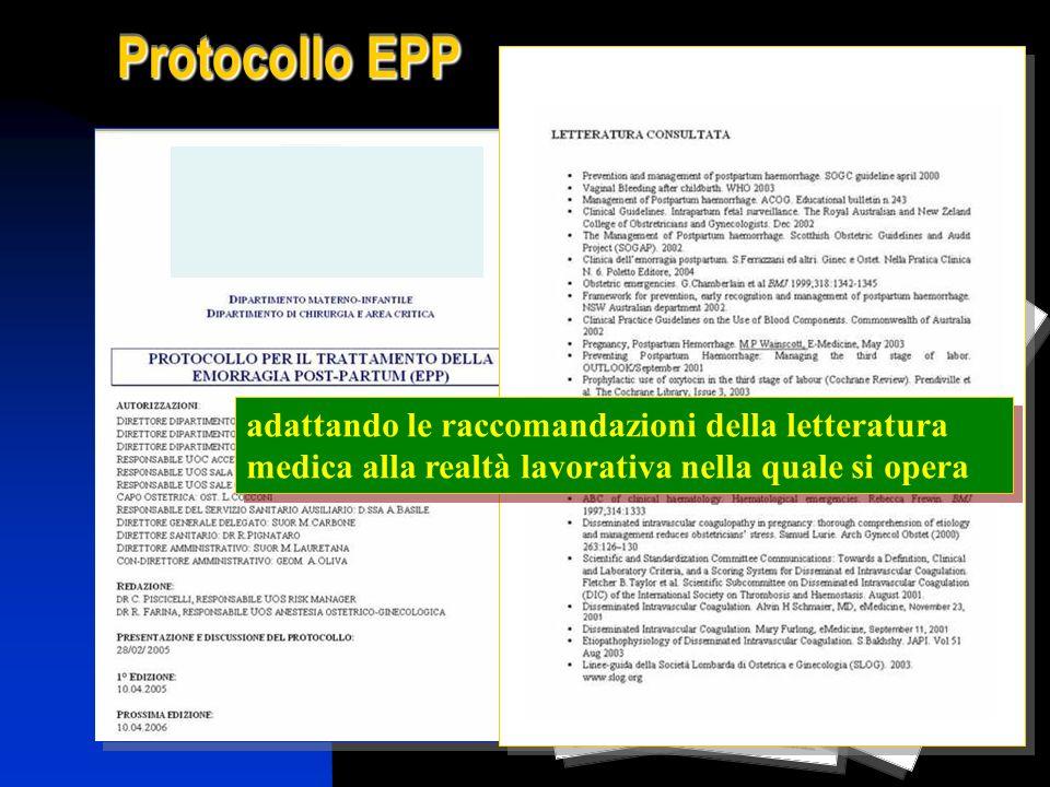 Protocollo EPP adattando le raccomandazioni della letteratura medica alla realtà lavorativa nella quale si opera.