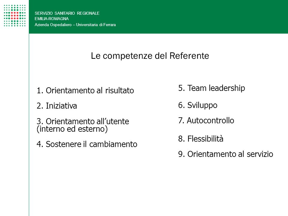 Le competenze del Referente