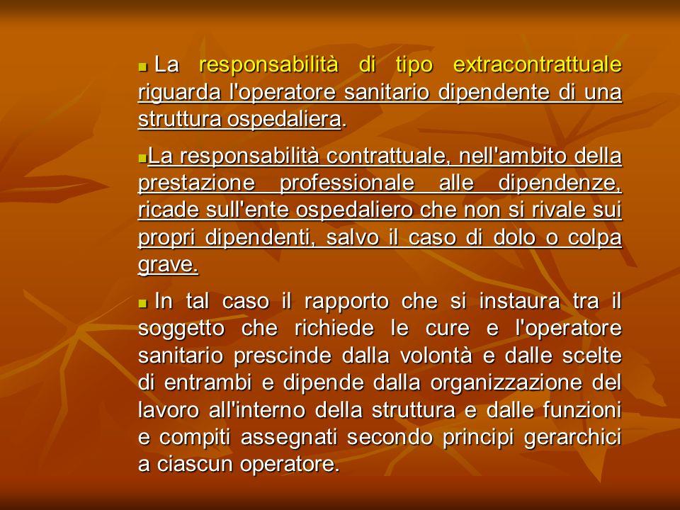 La responsabilità di tipo extracontrattuale riguarda l operatore sanitario dipendente di una struttura ospedaliera.