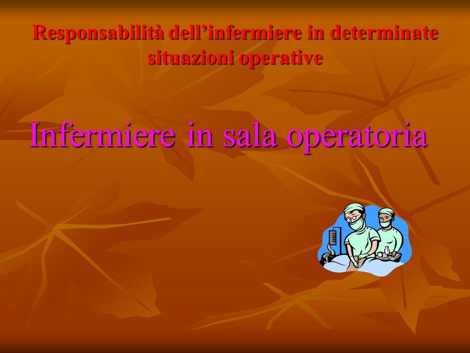 Responsabilità dell'infermiere in determinate situazioni operative