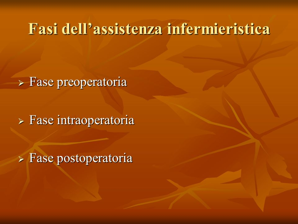 Fasi dell'assistenza infermieristica