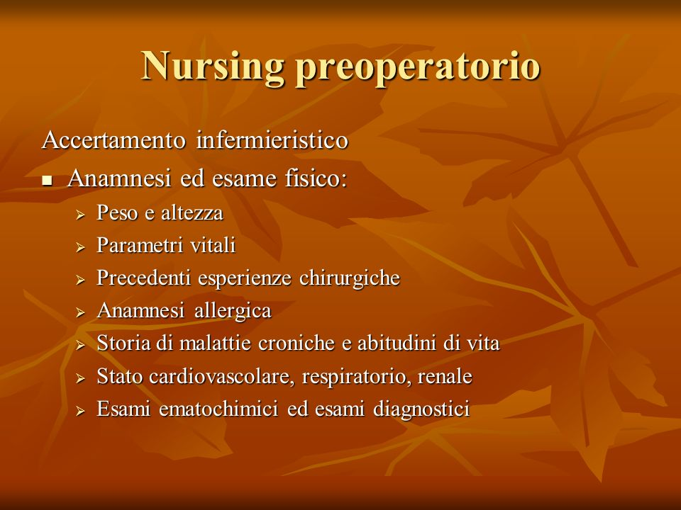 Nursing preoperatorio