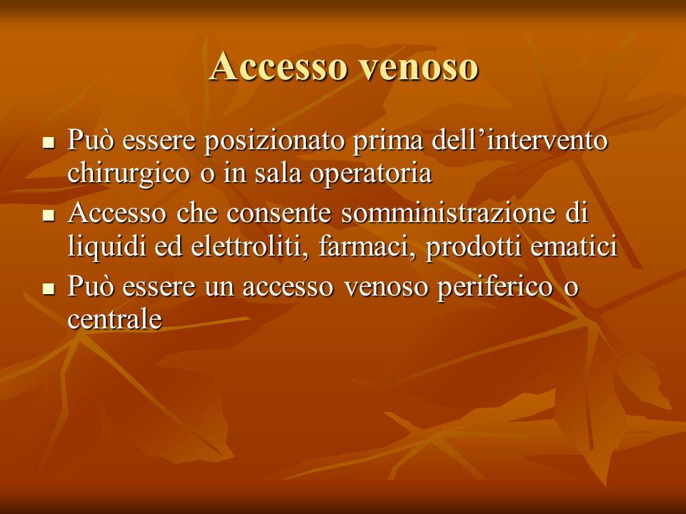 Accesso venoso Può essere posizionato prima dell'intervento chirurgico o in sala operatoria.