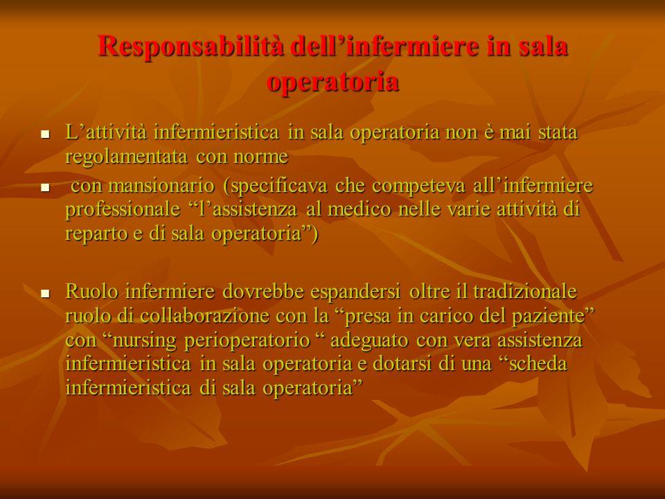 Responsabilità dell'infermiere in sala operatoria
