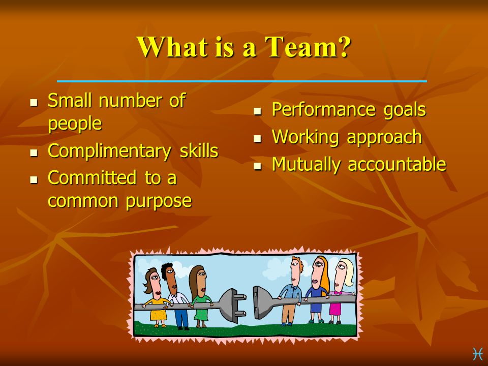 What is a Team Small number of people Performance goals