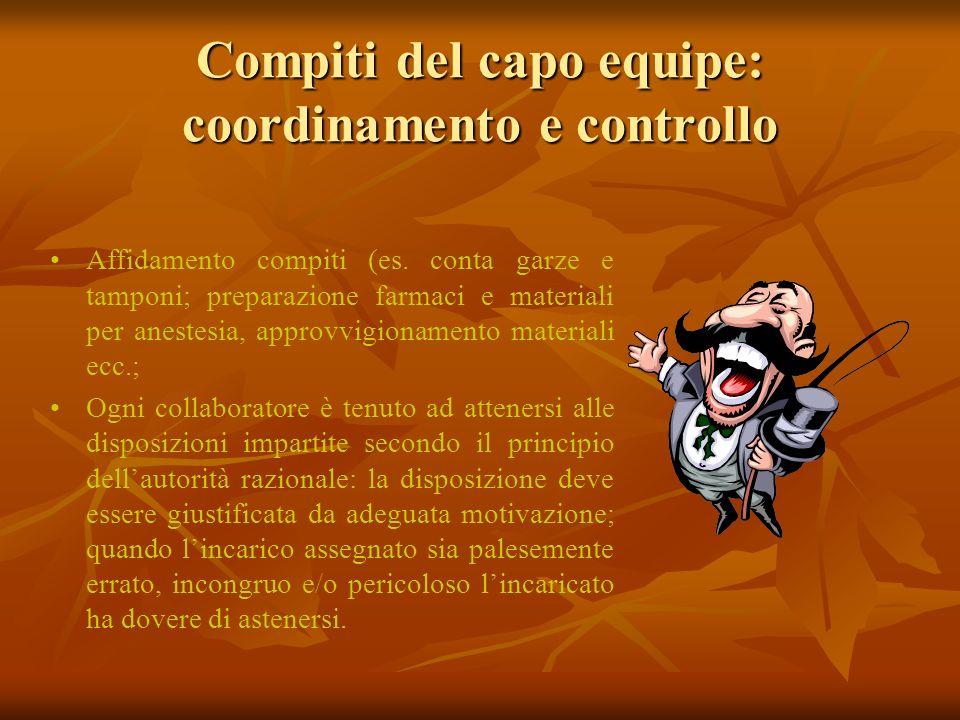 Compiti del capo equipe: coordinamento e controllo