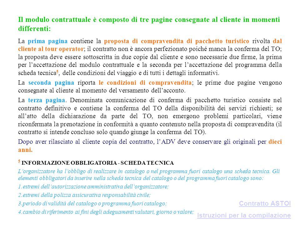 Il modulo contrattuale è composto di tre pagine consegnate al cliente in momenti differenti: