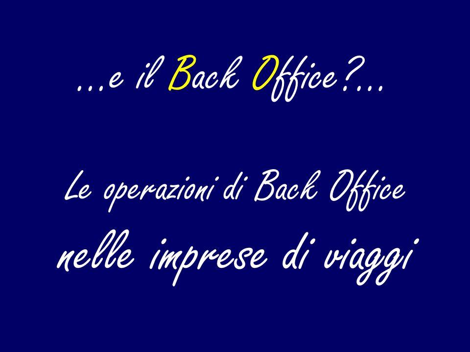 Le operazioni di Back Office nelle imprese di viaggi