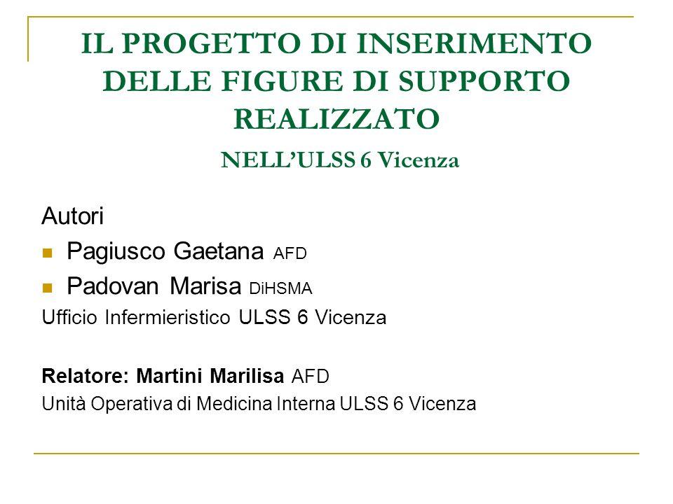 IL PROGETTO DI INSERIMENTO DELLE FIGURE DI SUPPORTO REALIZZATO NELL'ULSS 6 Vicenza