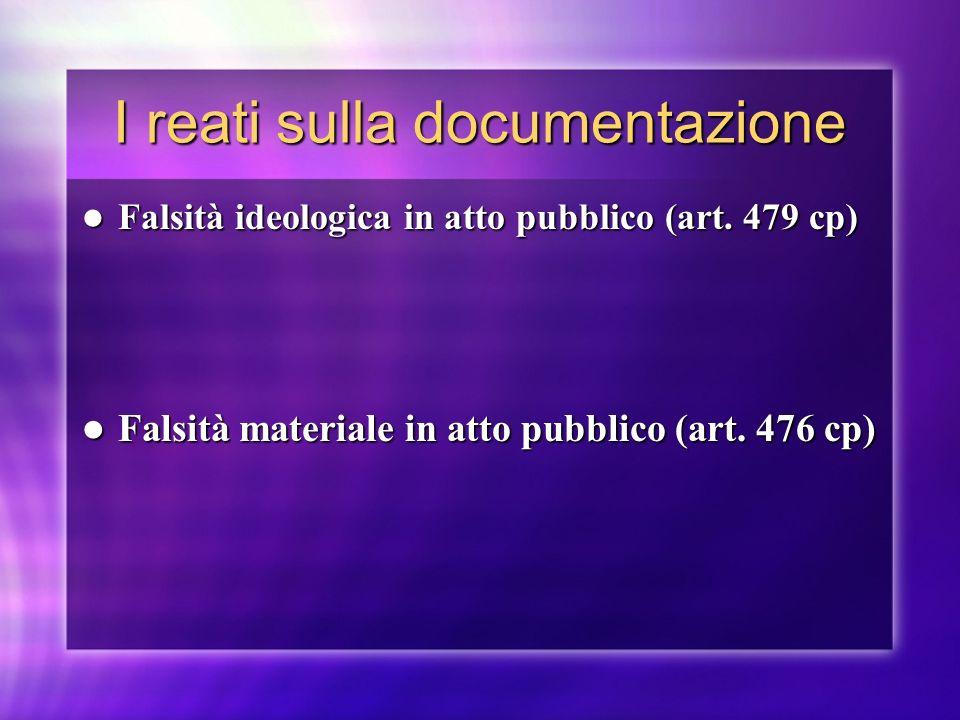 I reati sulla documentazione