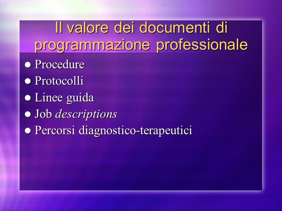 Il valore dei documenti di programmazione professionale