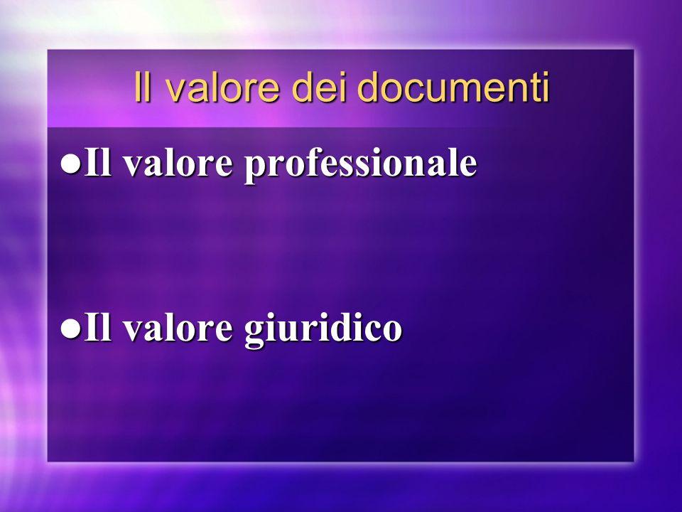 Il valore dei documenti