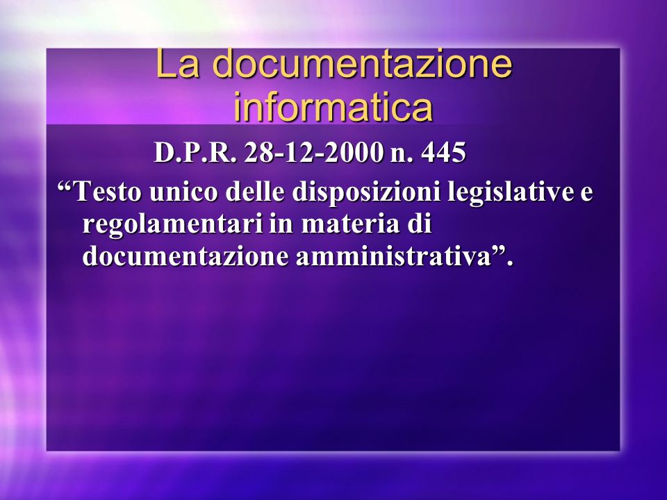 La documentazione informatica