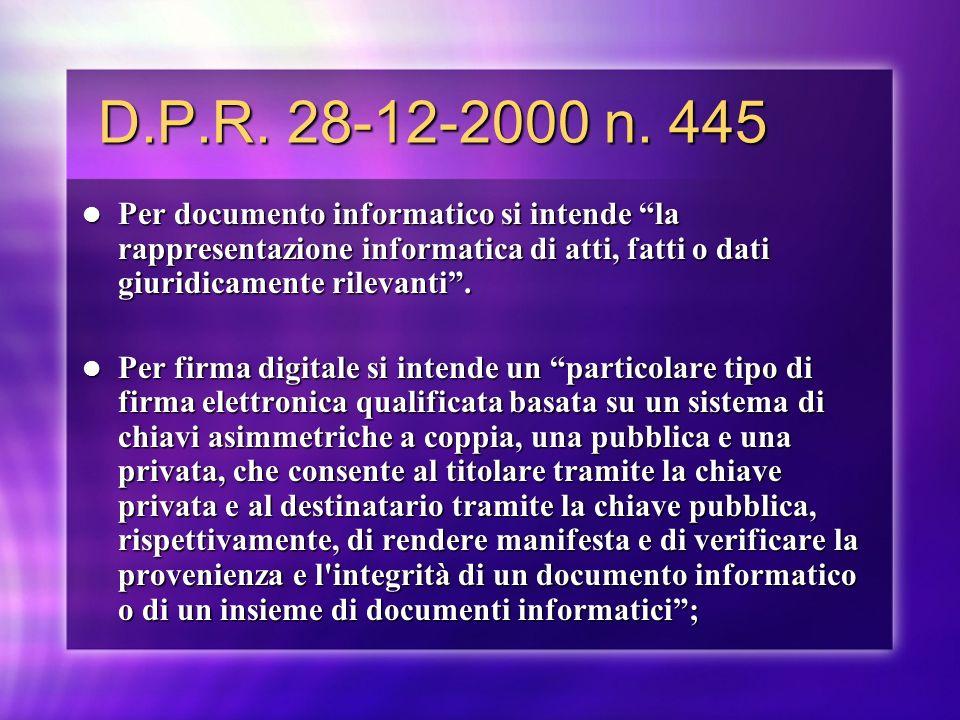 D.P.R. 28-12-2000 n. 445 Per documento informatico si intende la rappresentazione informatica di atti, fatti o dati giuridicamente rilevanti .