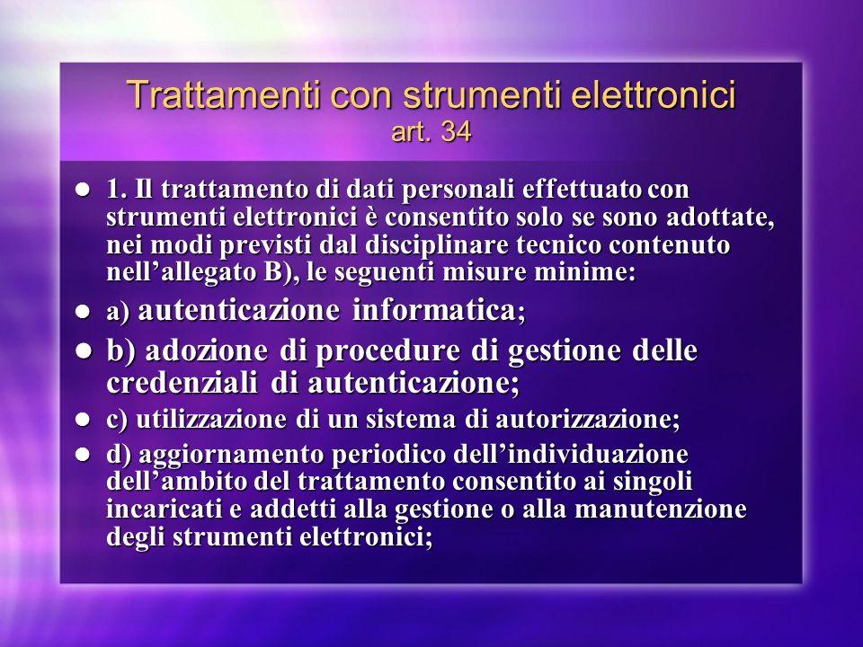 Trattamenti con strumenti elettronici art. 34