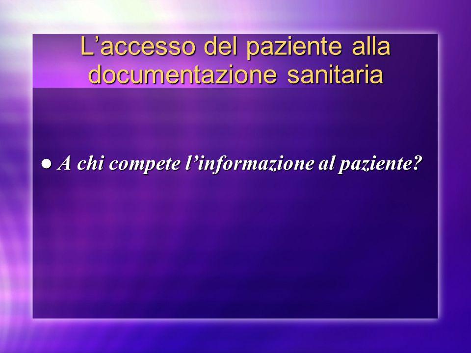 L'accesso del paziente alla documentazione sanitaria