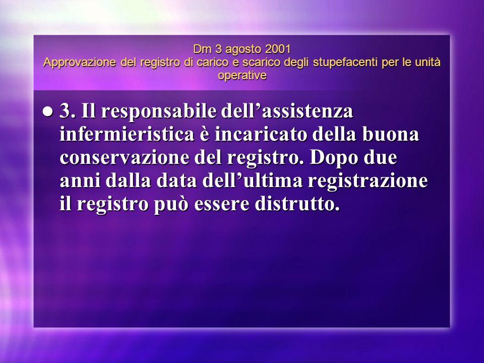 Dm 3 agosto 2001 Approvazione del registro di carico e scarico degli stupefacenti per le unità operative