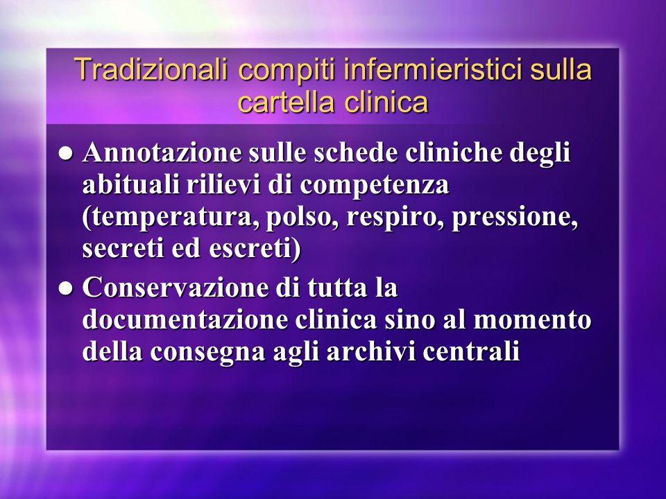 Tradizionali compiti infermieristici sulla cartella clinica