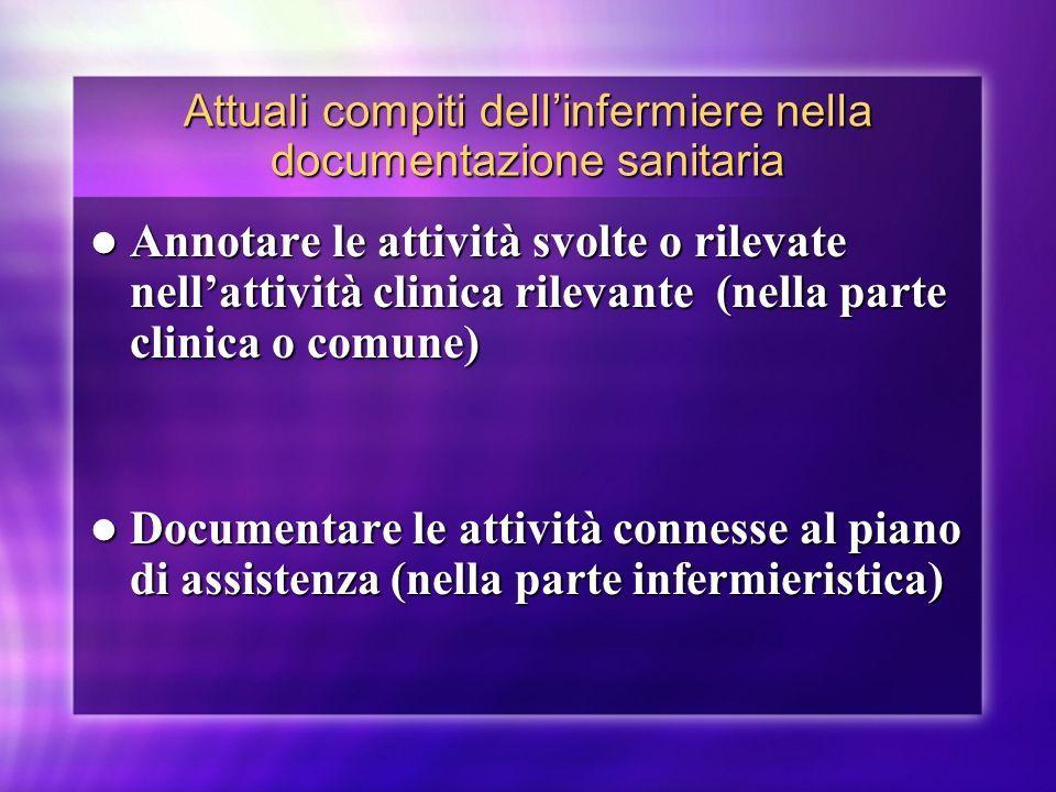 Attuali compiti dell'infermiere nella documentazione sanitaria