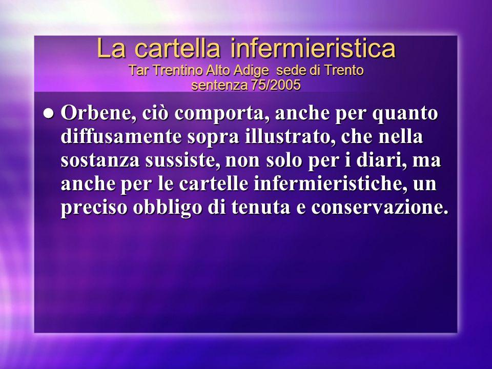La cartella infermieristica Tar Trentino Alto Adige sede di Trento sentenza 75/2005