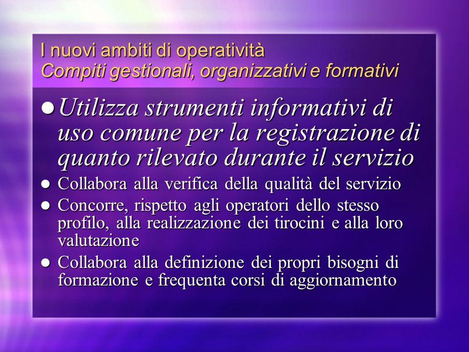 I nuovi ambiti di operatività Compiti gestionali, organizzativi e formativi