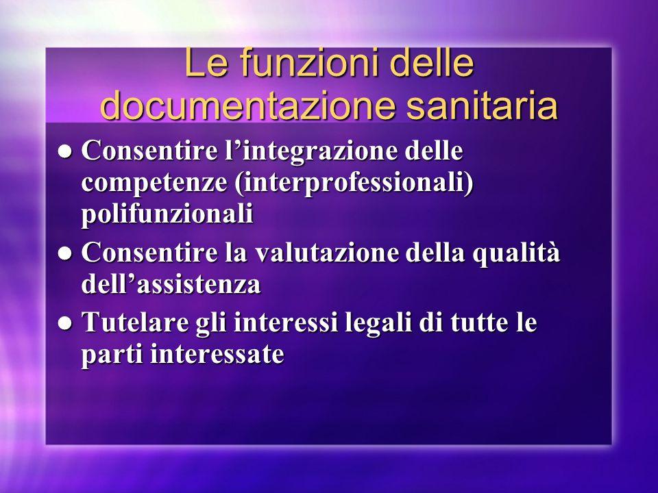 Le funzioni delle documentazione sanitaria
