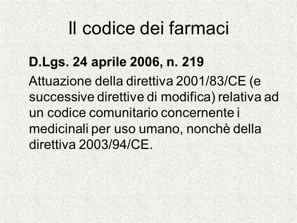 Il codice dei farmaci D.Lgs. 24 aprile 2006, n. 219