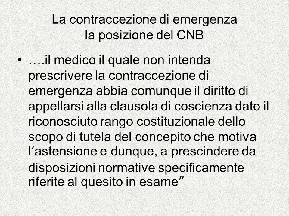 La contraccezione di emergenza la posizione del CNB