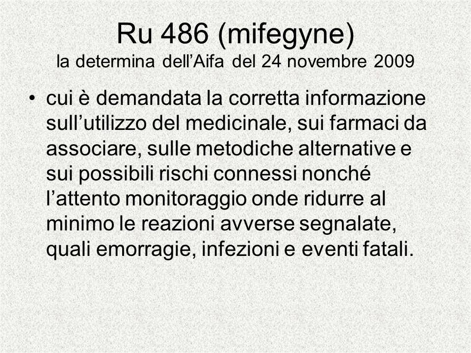 Ru 486 (mifegyne) la determina dell'Aifa del 24 novembre 2009