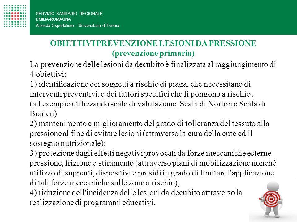 OBIETTIVI PREVENZIONE LESIONI DA PRESSIONE (prevenzione primaria)