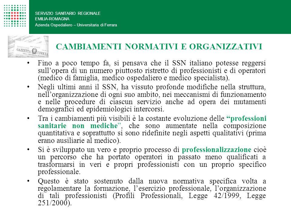 CAMBIAMENTI NORMATIVI E ORGANIZZATIVI