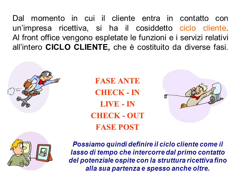 FASE ANTE CHECK - IN LIVE - IN CHECK - OUT FASE POST