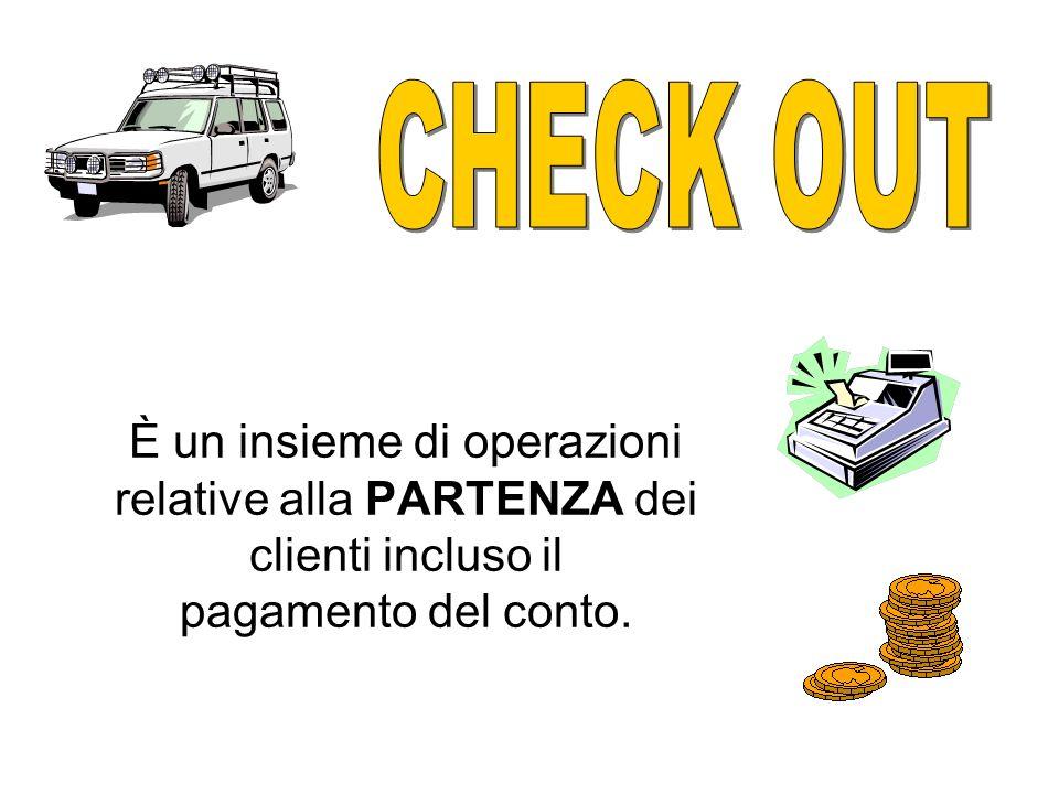 CHECK OUT È un insieme di operazioni relative alla PARTENZA dei clienti incluso il pagamento del conto.