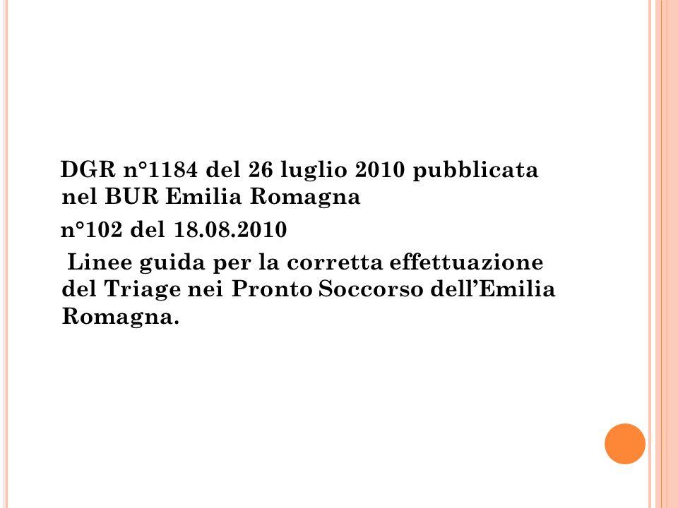 DGR n°1184 del 26 luglio 2010 pubblicata nel BUR Emilia Romagna n°102 del 18.08.2010 Linee guida per la corretta effettuazione del Triage nei Pronto Soccorso dell'Emilia Romagna.