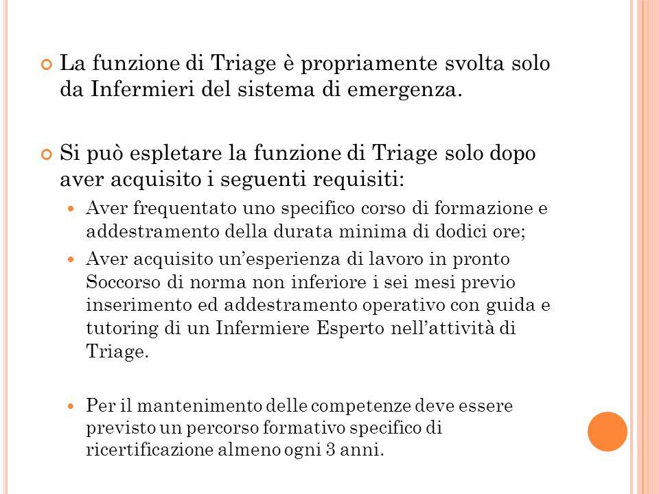 La funzione di Triage è propriamente svolta solo da Infermieri del sistema di emergenza.