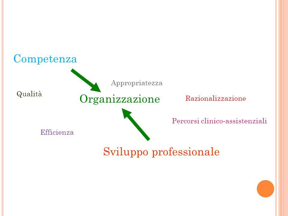 Competenza Organizzazione Sviluppo professionale Appropriatezza